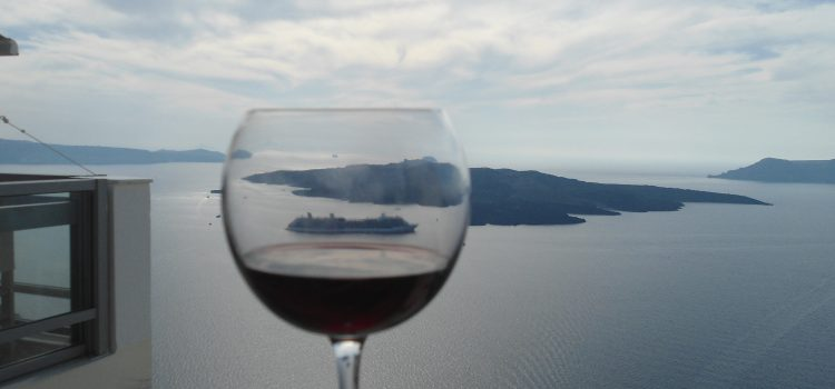 Glass of wine from our balcony