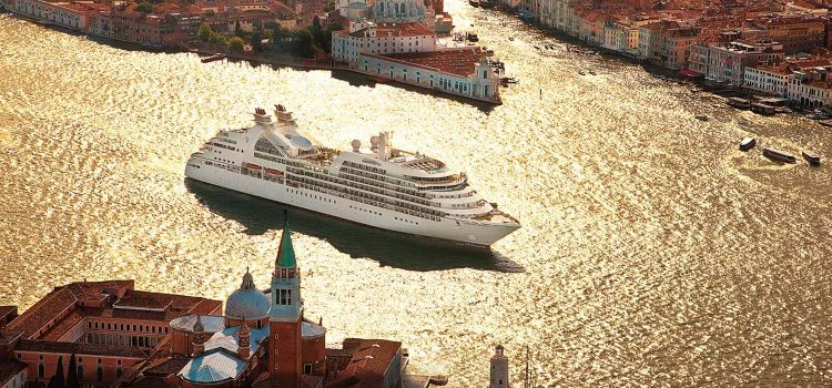 Seabourn Ship sailing into Venice