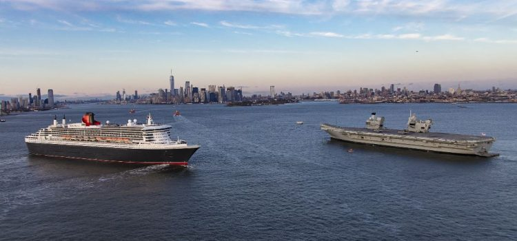Cunard Ships meet in New York with Royal Navy Ship